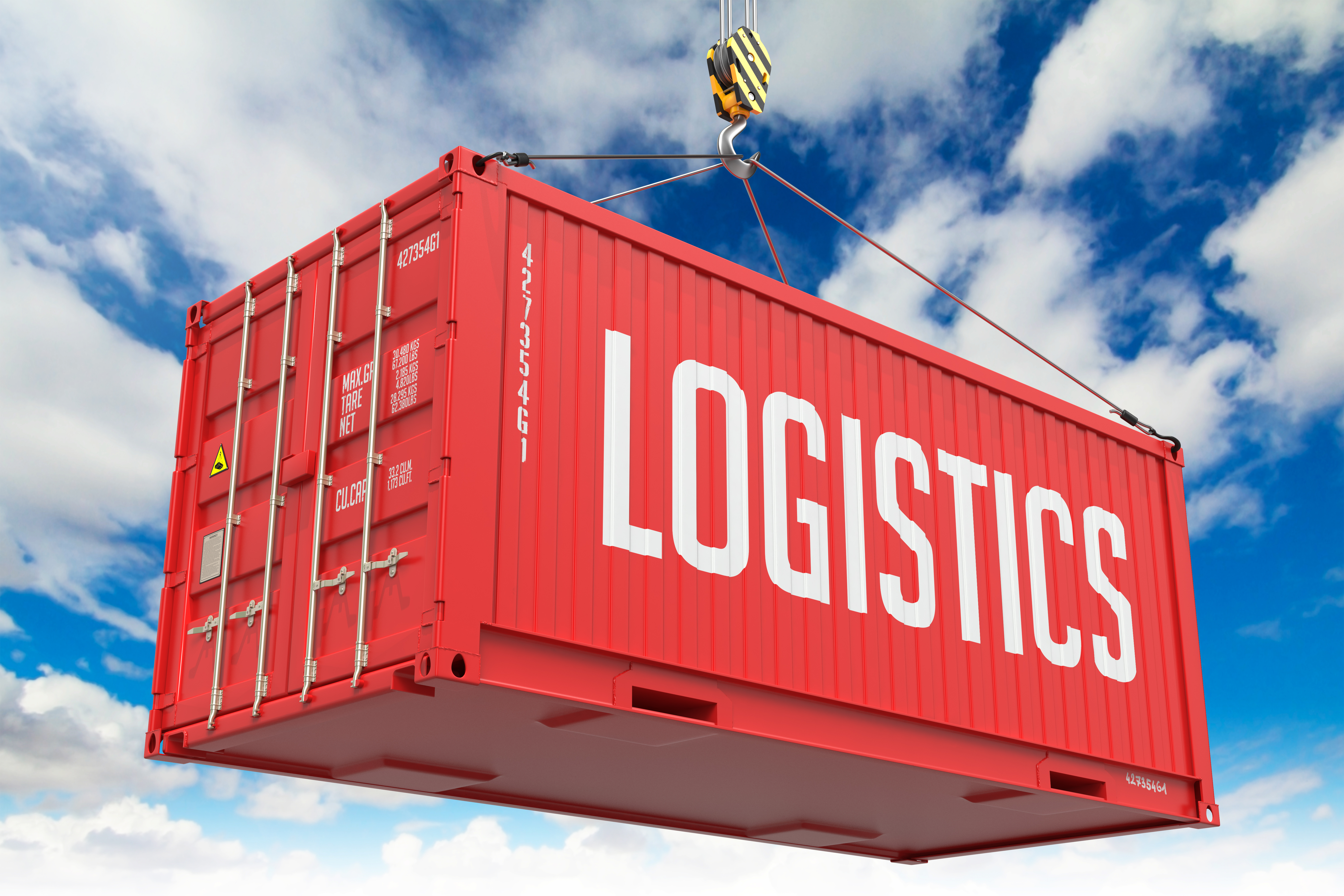 - Red Hanging Cargo Container.